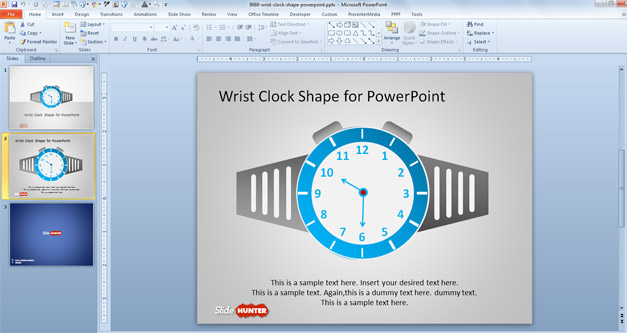 Free Wrist Clock shape for PowerPoint presentations