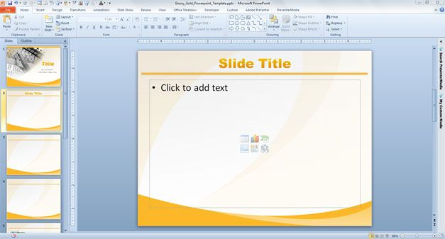Glossy Gold PowerPoint Template with Yellow Background